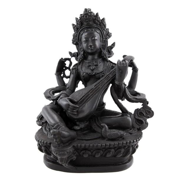 Ebony Finish Saraswati Hindu Goddess Statue Diwali Statues
