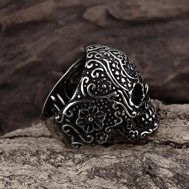 Black Lining Stainless Steel Skull Ring