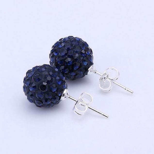 Vivid Dark Austrian Stone Blue Stud Earrings