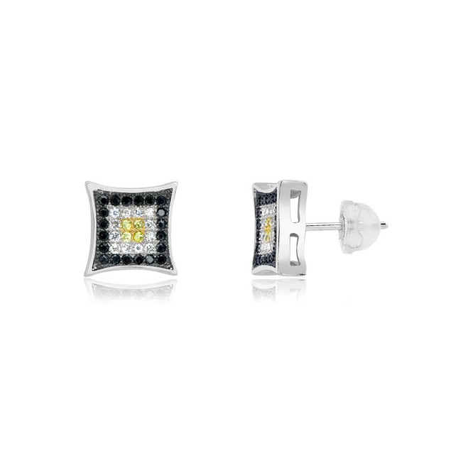 Sterling Silver Black, White & Yellow Micro-Pave Diamond Stud Earrings