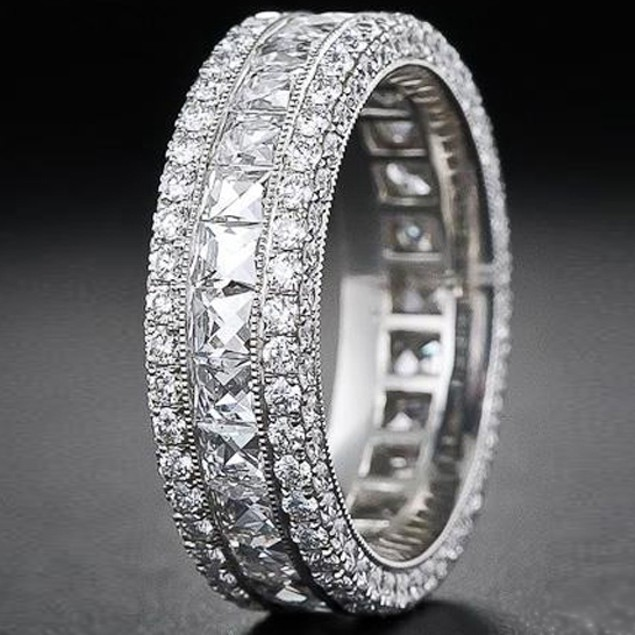 White Gold Plated 7ct French-Cut CZ Eternity Band