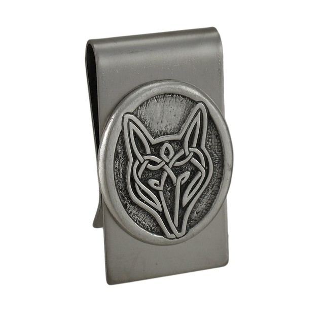 Celtic Wolf Stainless Steel Money Clip Mens Money Clips