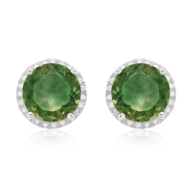 Sterling Silver 2 Carat Round Green Amethyst Quartz Halo Earrings