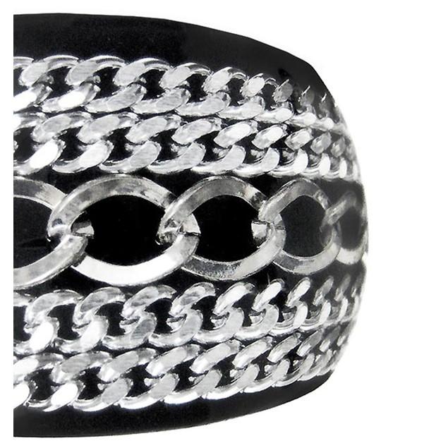 2 Inch Wide Chrome Chain Black Bangle Bracelet Womens Bangle Bracelets