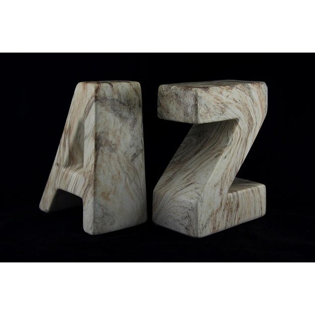 White And Brown Marble Finish Ceramic A To Z Decorative Bookends
