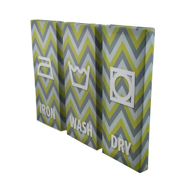 3 Piece Laundry Care Symbols Chevron Stripe Canvas Prints