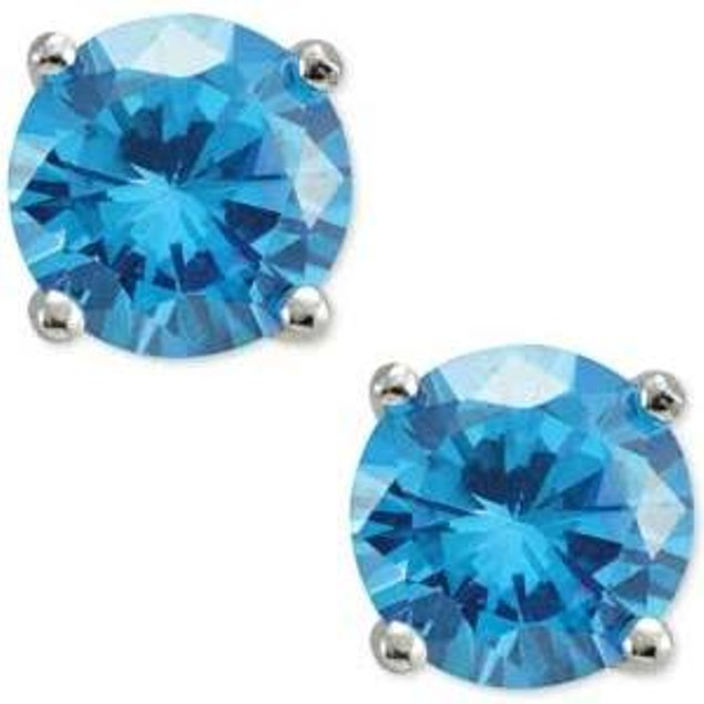 Sterling Silver Colored CZ Stud Earrings
