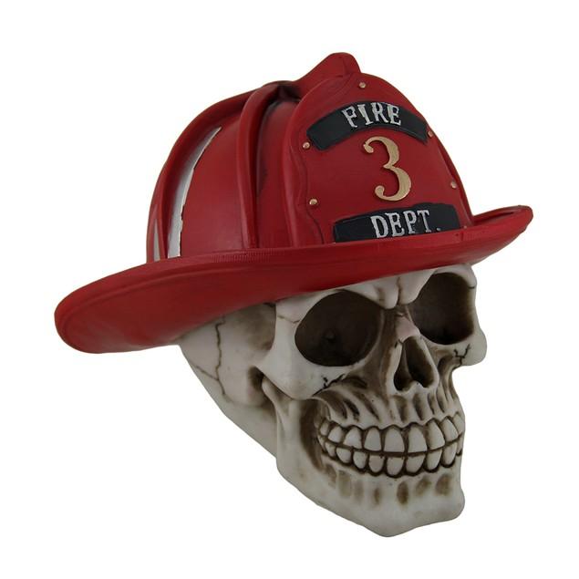 Frightful Fireman Human Skull Statue Wearing Statues