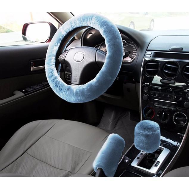 Zone Tech Blue Car Steering Wheel Emergency brake Gear Shift Plush Cover