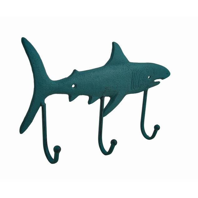 Cast Iron Shark Shaped Verdigris Decorative Wall Decorative Wall Hooks