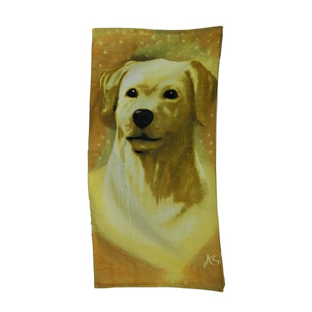 Golden Labrador Velour Beach Towel 30 X 60 In. Beach Towels