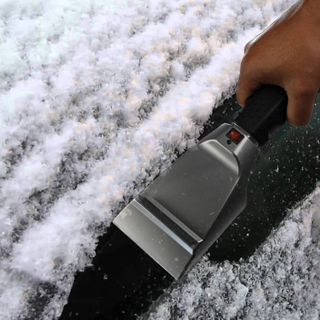Heated Ice/Snow Scraper w/ Anti Scratch Rubber Guard