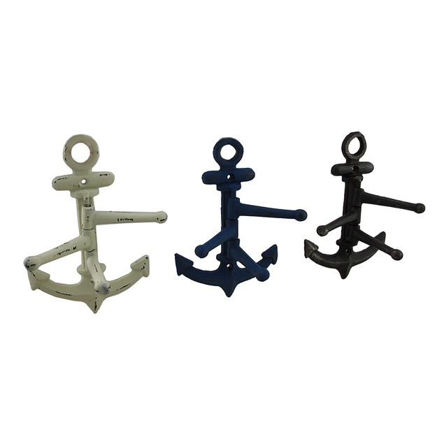 Set Of 3 Distressed Finish Cast Iron Anchor 3 Decorative Wall Hooks