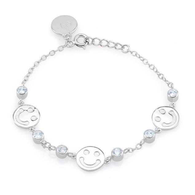 Sterling Silver Smiley Charm Bracelet
