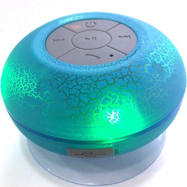 LAX Gadgets Wireless Bluetooth Waterproof Shower Speaker with LED Lights