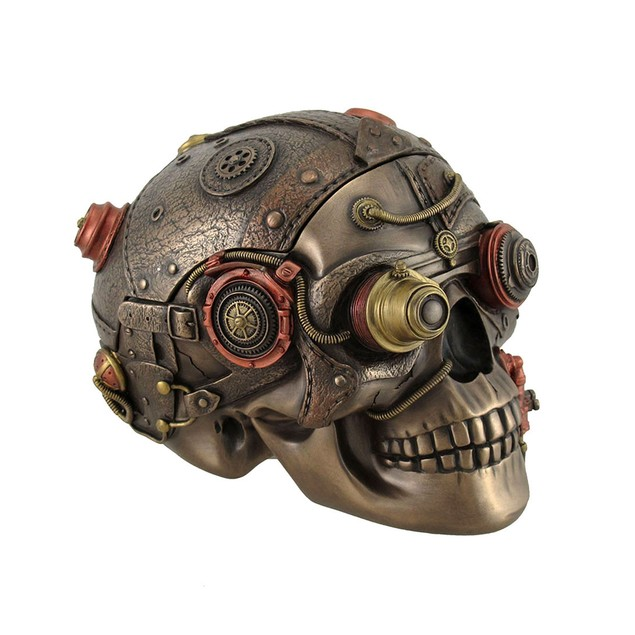 Bronze Finish Leather Look Gearhead Steampunk Decorative Boxes