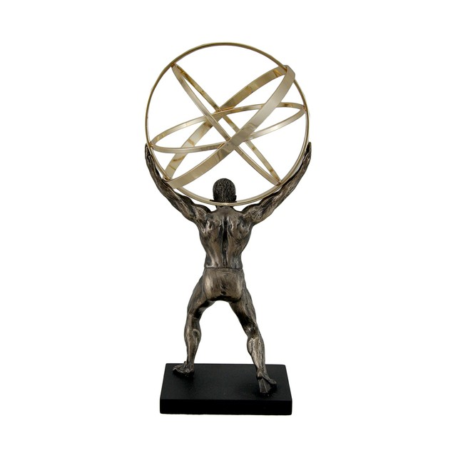 Atlas Carrying Celestial Sphere Bronze Finished Statues