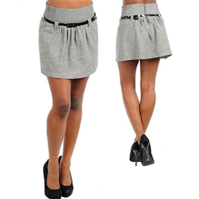 Casual Light Gray Skirts With Belt Included New