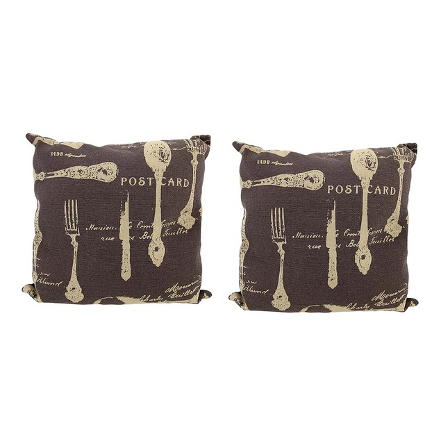 Pair Of Brown Canvas French Cuisine Postcard Theme Throw Pillows