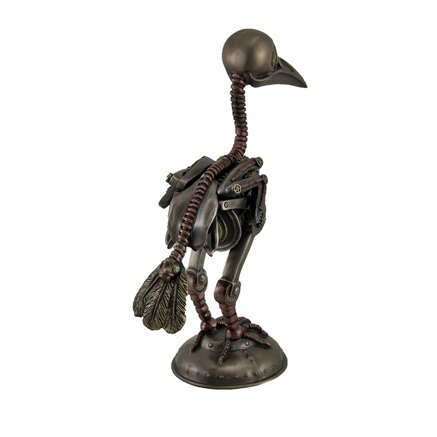 Steampunk Crow Skeleton Antique Bronze Finish Statues