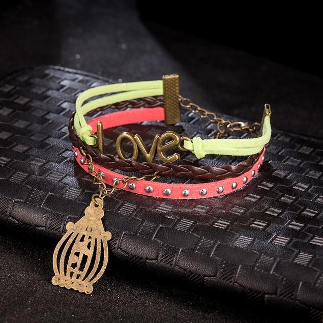 Lime & Coral Valentines Love Bracelet