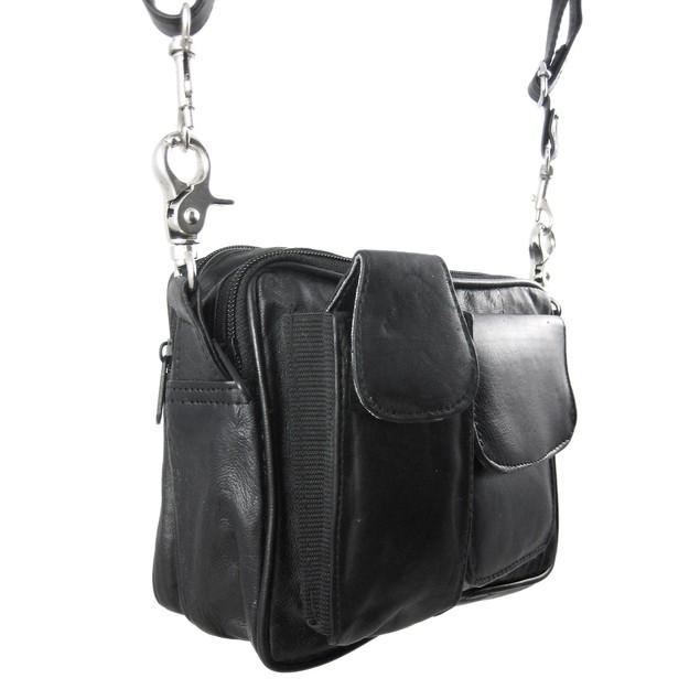 Black Nappa Leather Biker Purse Shoulder Bag Carry Womens Cross Body Bags