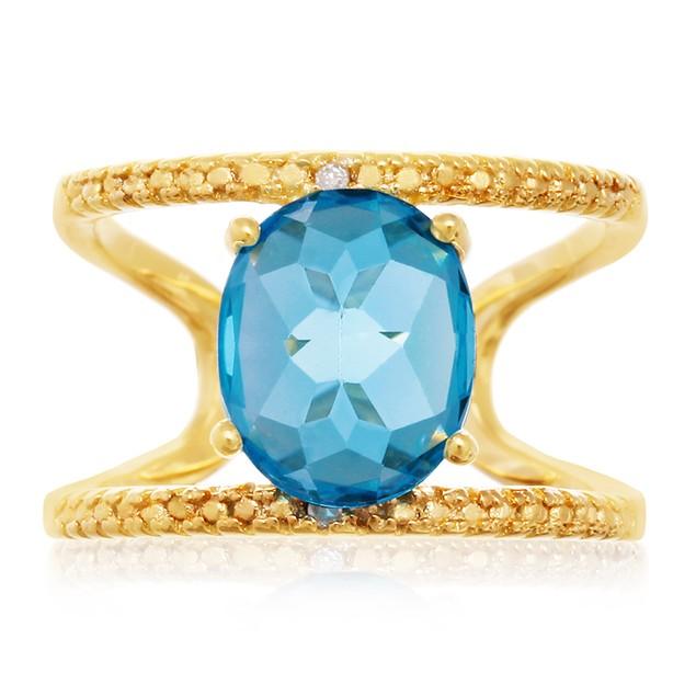 Blue Topaz and Diamond Open Shank Ring