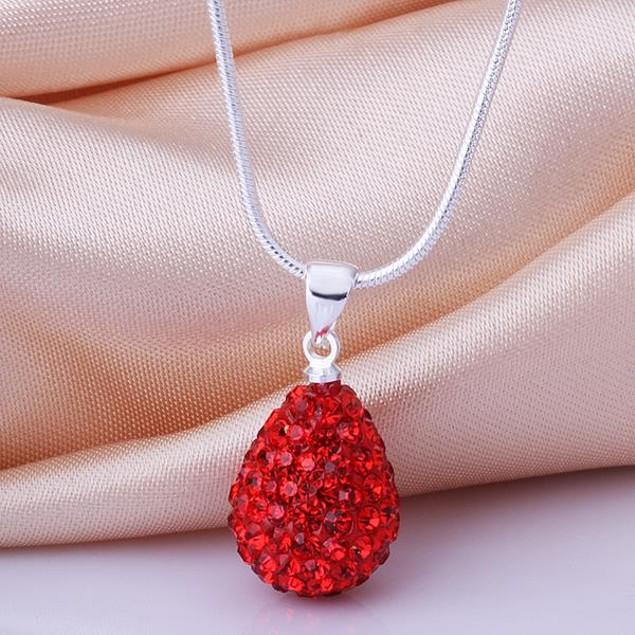 Solid Austrian Stone Pear Necklace - Bright Red