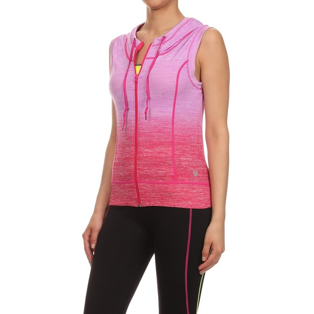 Women's Ombre Moisture Wicking Zip up Hooded Vest