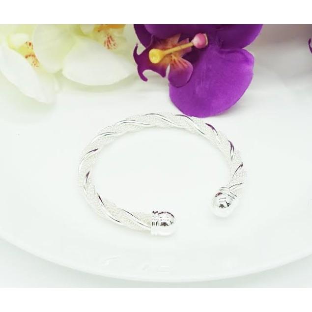 Designer Inspired Sterling Silver Twisted Mesh Cuff Bracelet