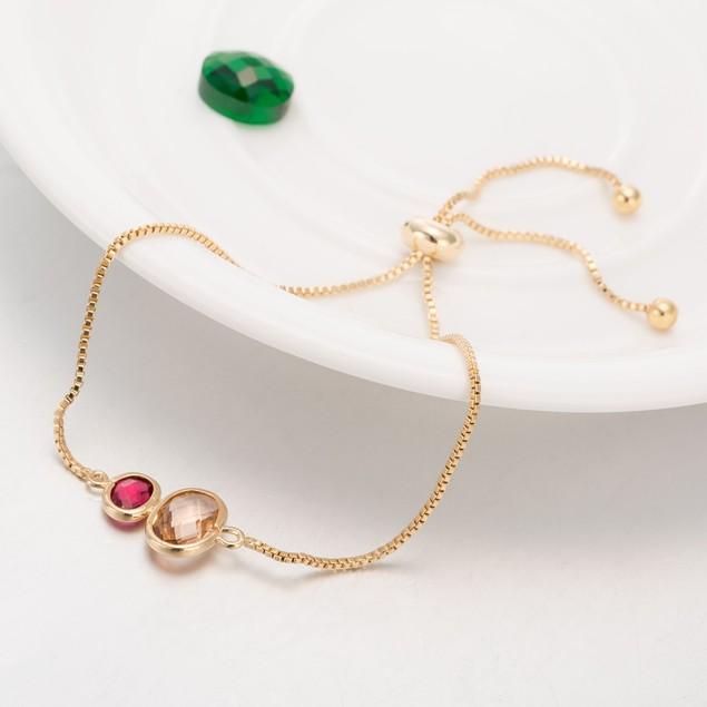 Gold Plated Duo Circular Citrine & Ruby Gem Bracelet
