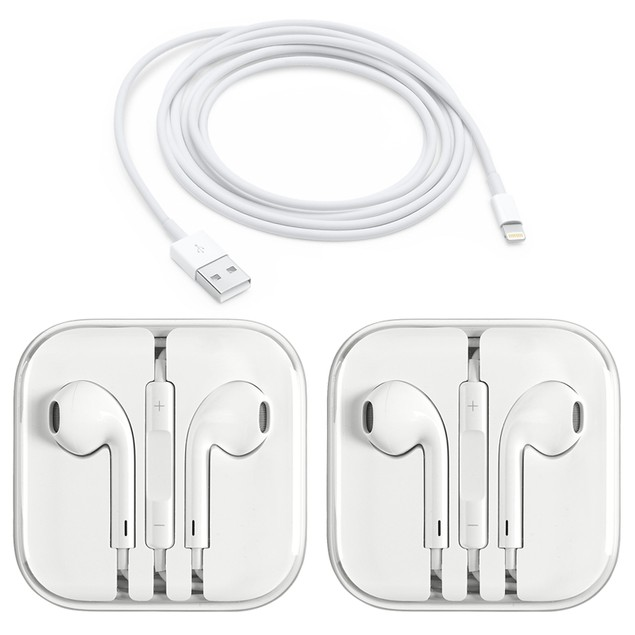 2-Pack Apple Original 3.5mm Earpods Earphones + Apple Original Cable