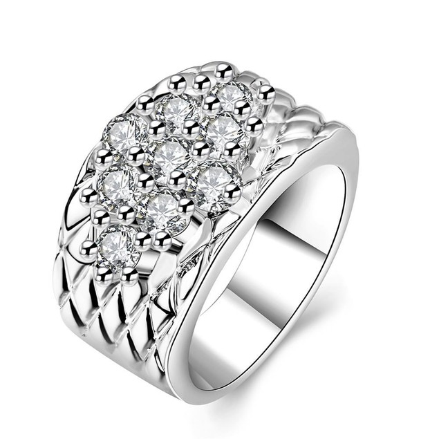 White Gold Plated Classic Royalty Inspired Ring