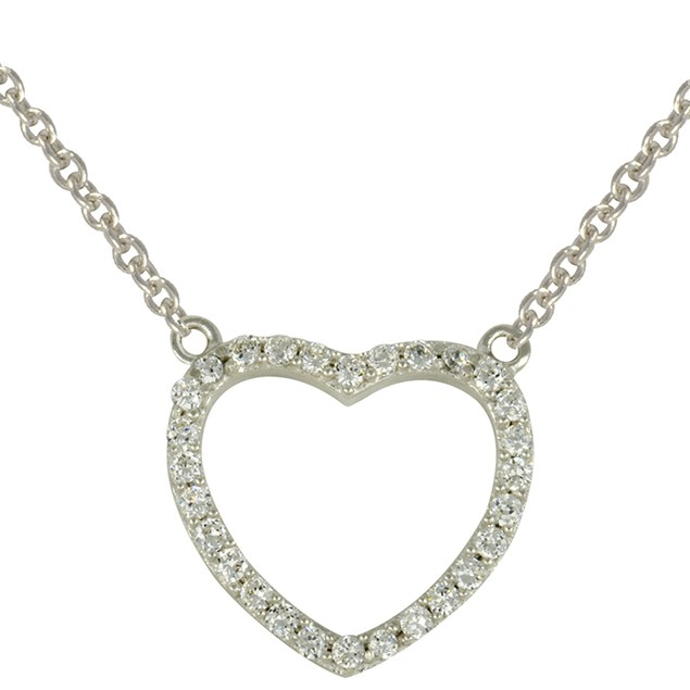 Sterling Silver Simulated Diamond Heart Necklace