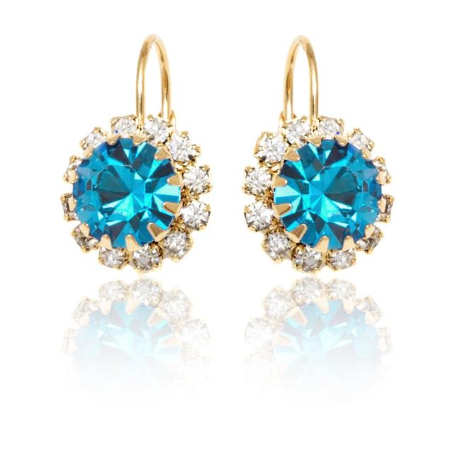 Aqua Crystal Flower Huggie Earrings