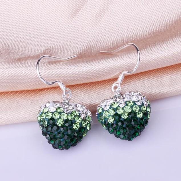 Heart Shaped Austrian Stone Drop Earrings -Dark Emerald