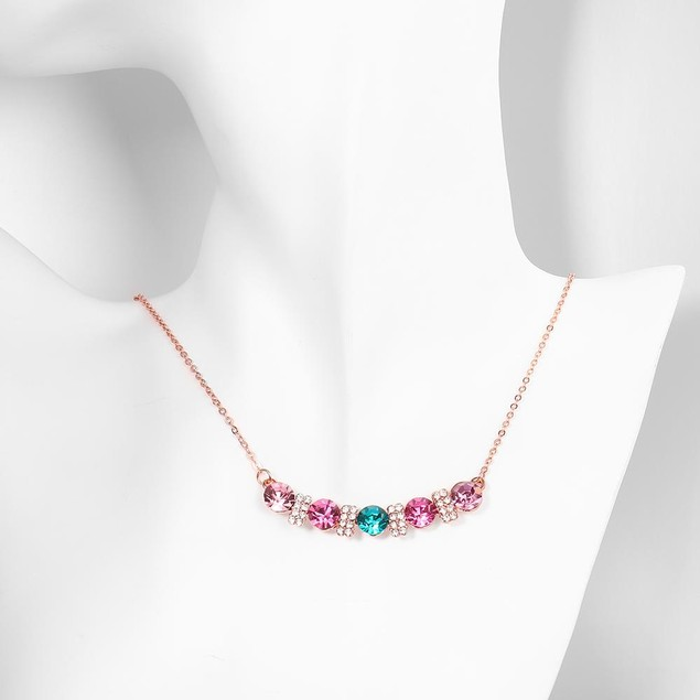 Rose Gold Plated Multi-Stone Bar Necklace