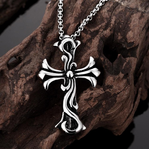 Alpha Steel Thick Abstract Cross Stainless Steel Necklace