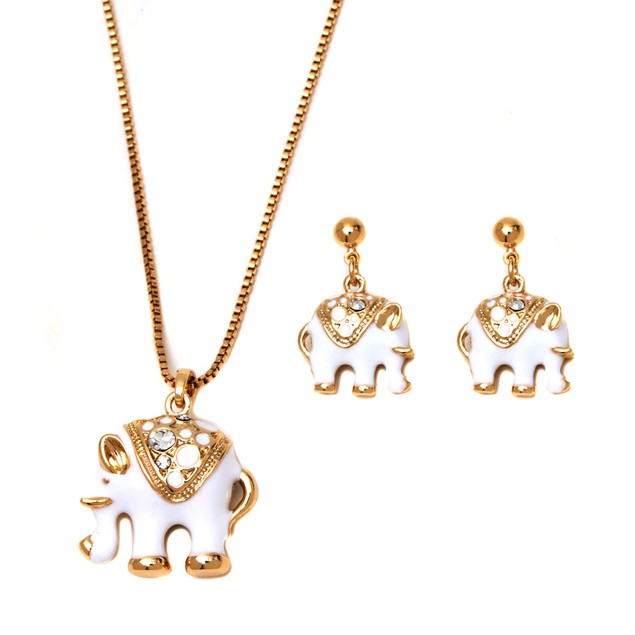 Gold & White Enamel Elephant Earrings & Necklace Set
