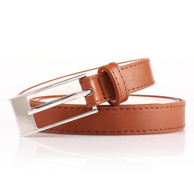 Women's Bonded Leather Skinny Dress Belt