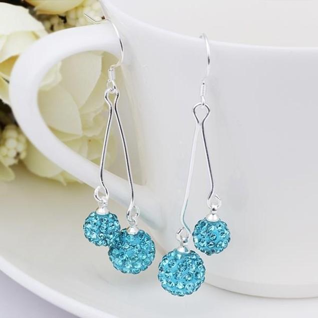 Austrian Stone Drop Earrings -Light Blue