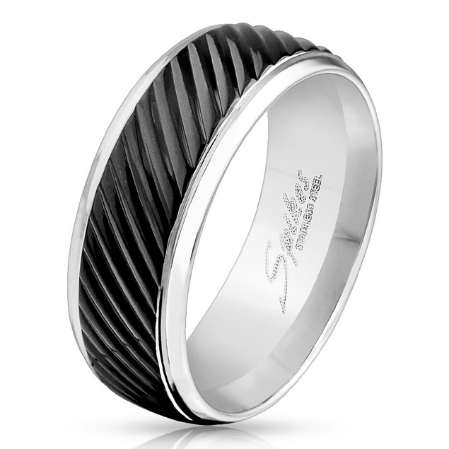 Diagonal Groove Black IP Lined Center Stainless Steel Band Ring