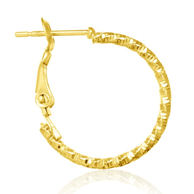 Set of 3 Gold Plated Diamond-Cut Hoop Earrings
