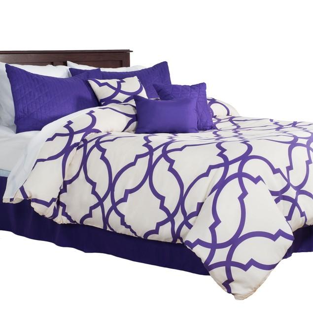 7 Piece Oversized Trellis Comforter Set