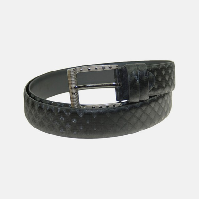 Men's Casual Black Diamond Pattern Leather Belt