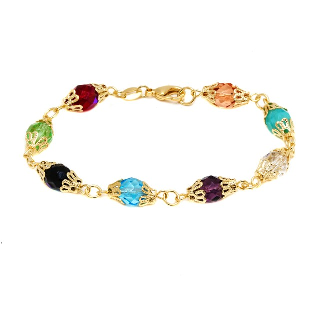 18K Gold & Multi Color Crystals Bracelet