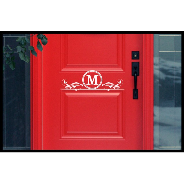 Monogram Initial Door Decal 2