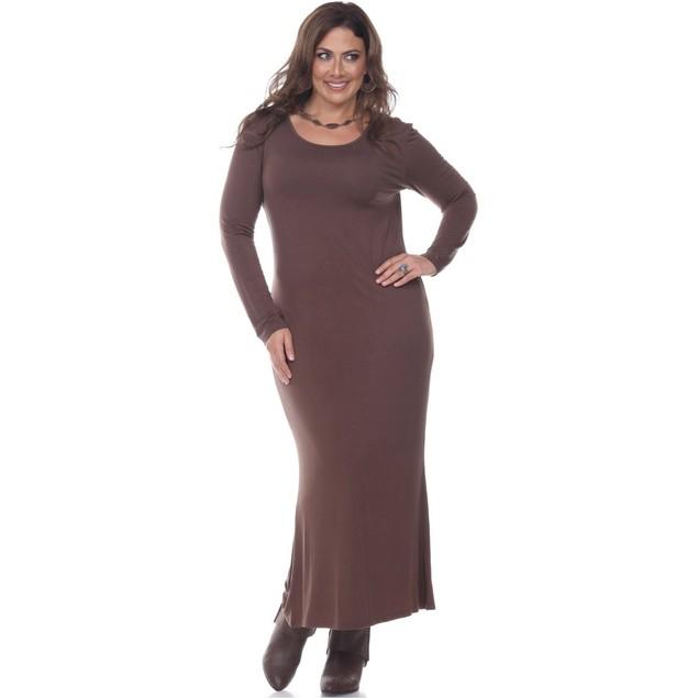 White Mark Plus Size Long Sleeve Maxi Dress