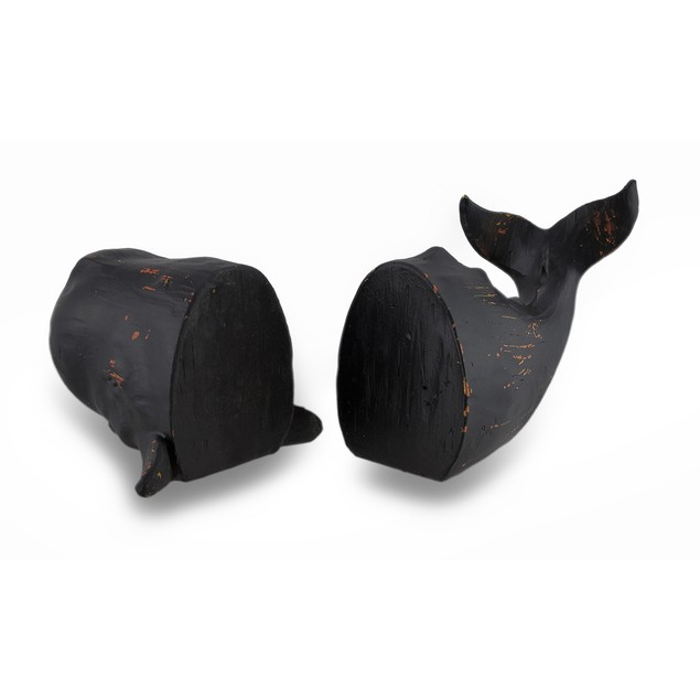 Whale Top And Tail Black Distressed Finish Decorative Bookends