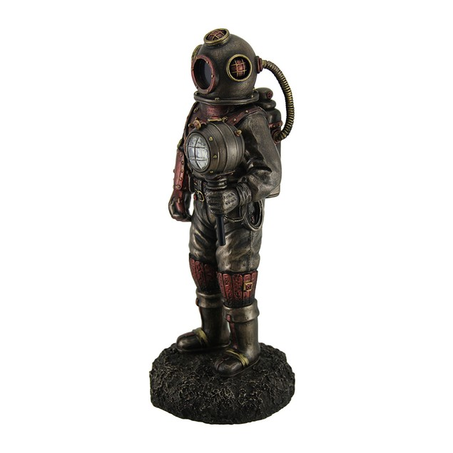 Lighted Steampunk Skeleton In Diving Suit Statue Statues
